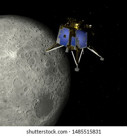 Artist depiction of the the Chandrayaan 2 lunar mission from India. The Vikram lander orbiting the moon (3d illustration). Some elements provided by NASA.