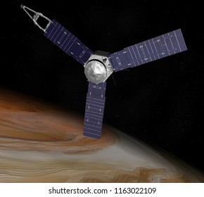 Artist depiction of the NASA Juno probe in a polar orbit around Jupiter. Juno is the farthest spacecraft to use solar power. (3D Illustration)