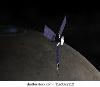 Artist depiction of the NASA Juno probe in a polar orbit around Jupiter. Juno is the farthest spacecraft to use solar power. (3D Illustration, elements of this image furnished by NASA)
