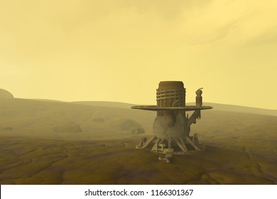 Artist depiction of the Soviet Venera 13 probe which landed on the planet Venus in 1982. (3D illustration)