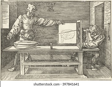 An Artist Draws a Lute, by Albrecht Durer, 1525, print, engraving. Artist conducting an experiment in rendering a lute in linear perspective