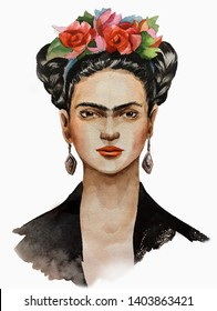 artist Frida Kahlo with a wreath on her head and a black handkerchief painted in watercolor. Russia Penza 18 on may 2019