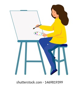 The artist holds a brush and paints. The girl sits in front of the easel and draws a picture.