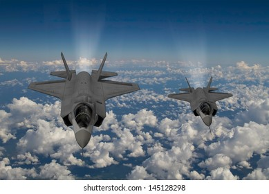 Artist impression of 2 F-35  Aircraft at 30,000ft altitude over a cloudy sky.