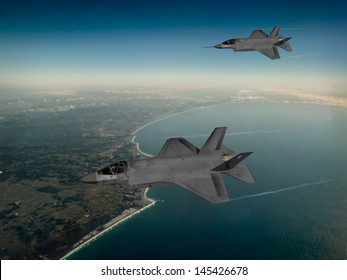 Artist impression of F-35 Lightning II Aircraft at 15,000ft flying over Tweed Heads, in Australia.