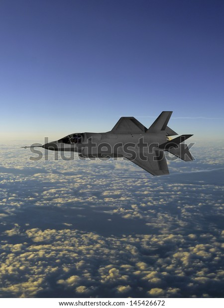 Artist Impression F35 Lightning Ii Aircraft Stock Illustration 145426672