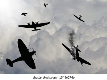 Artist impression of a scene from the battle of Britain that raged in 1940 during World War 2. British fighters attacking German bombers.