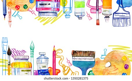Artist materials on top and bottom in rectangular frame - palettes, palette knives, brushes, pens and tubes. Hand drawn outline sketch and watercolor illustration isolated on white background