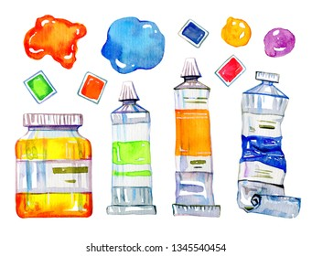 Artist materials - paint tubes and conteiners. Hand drawn sketch watercolor illustration set isolated on white background