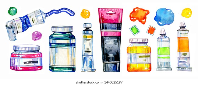 Artist materials - paint tubes, conteiners and color spots. Hand drawn sketch watercolor illustration set isolated on white background
