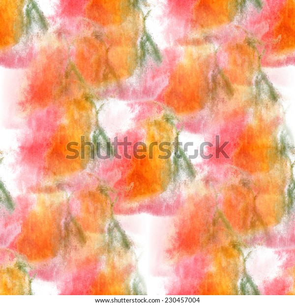 artist  pink, orange, green seamless watercolor wallpaper texture of handmade
