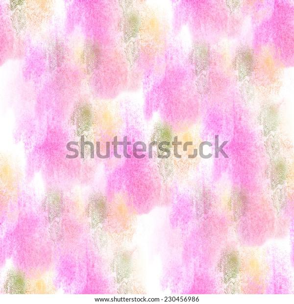 artist  pink, yellow, green seamless watercolor wallpaper texture of handmade