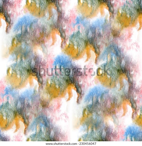 artist red, blue, black, yellow seamless watercolor wallpaper texture of handmade