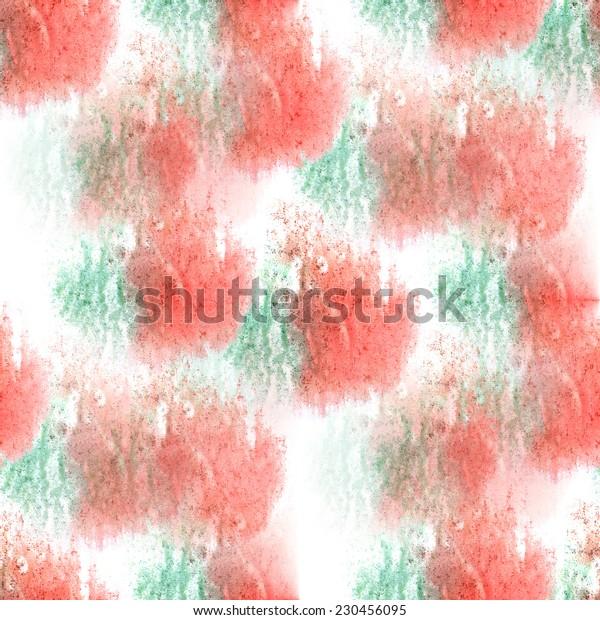 artist red, green seamless watercolor wallpaper texture of handmade