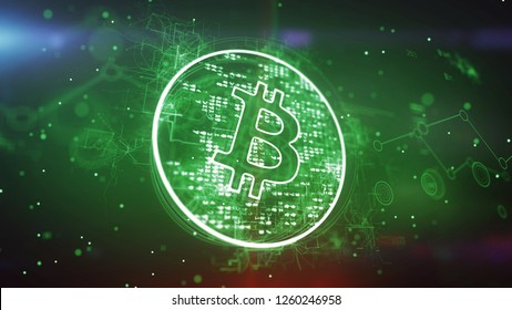 Artistic 3d illustration of a bitcoin symbol put in a shining circle and spinning slowly in the green background. It looks advanced and cheerful inspiring for new deals.
