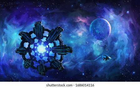 Artistic 3d illustration of an extraterrestrial aliens invasion spaceships floating in colorful nebula space