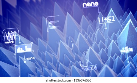 Artistic 3d illustration of nano pyramids with see-through slopes, spinning spirals and rushing digits in the light violet background. It looks innovative and futuristic