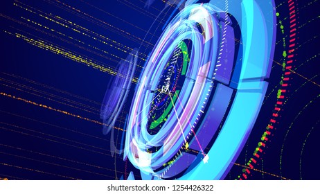 Artistic 3d illustration of shining blue and celeste circles spinning oppositely and having a compass dial face placed vertically and six thin arrows revolting too in the blue background.