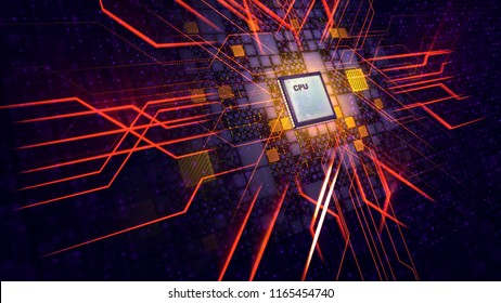 An artistic 3d illustration of a square CPU tablet making a diagonal and straight cross form sparkling energy rays beaming in eight directions in the black background with yellow and violet plates.