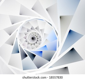 Artistic Abstract Background - Geometric pieced, spiral fractal design against white backdrop
