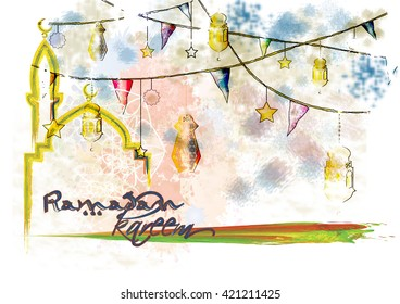 Artistic abstract watercolor islamic muslim holiday background with mosque, eid lanterns and color splash grunge.