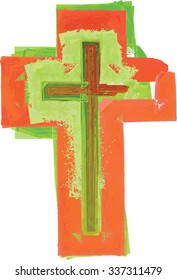 Artistic abstract watercolor style colorful modern green and red cross