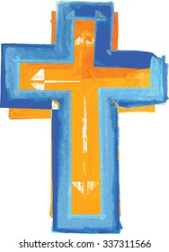 Artistic abstract watercolor style colorful modern blue and orange cross illustration