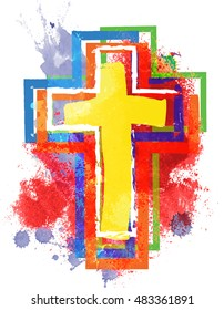 Artistic abstract watercolor style colorful modern christian cross