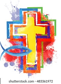Artistic abstract watercolor style colorful modern christian cross, with fish - a symbol of Jesus Christ and Christianity