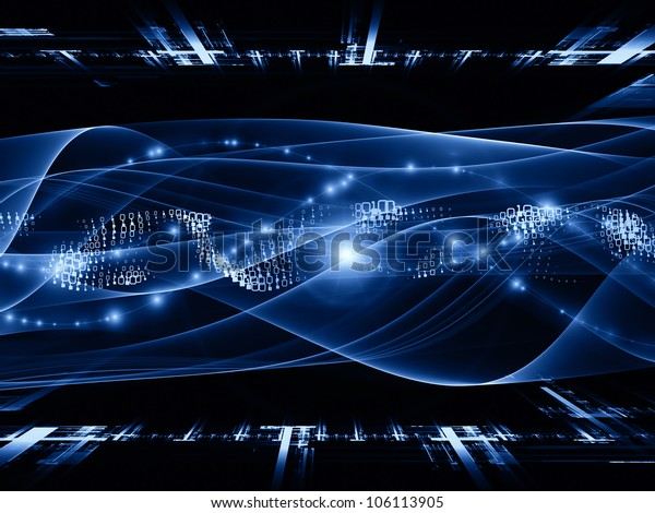 Artistic background made of abstract sine waves and design elements for use with projects on modern computing, virtual reality and signal processing