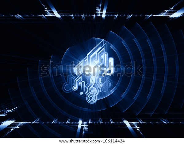 Artistic background for use with projects on music, sound equipment and processing, audio performance and entertainment made of musical notes, fractal grids, lights, wave and sine patterns