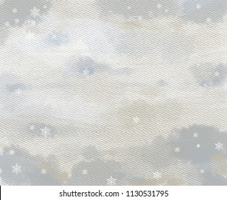 Artistic Background with Watercolor and Wet Paper Effects, Textures, and White Snowflakes. Hand Drawn Graphic Painting for Creative Design, Website, Template, etc. Great for Christmas, and New Year.