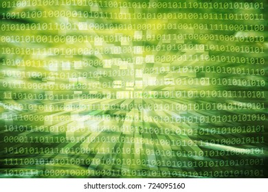 Artistic binary numbers data travel information on yellow green colored light. Conceptual computer network or artificial intelligence illustration background.