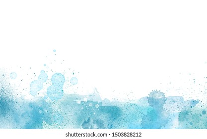 Artistic Blue Watercolor paint border isolated on white, creative background