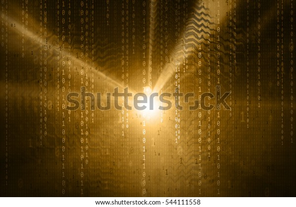 Artistic blurred binary numbers data travel information on dark gold color abstract light illustration background.