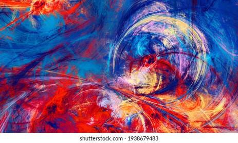 Künstlerische helle Textur. Abstrakter Farbhintergrund. Modernes Farbmuster. Fractal-Kunstwerke für kreatives Grafikdesign