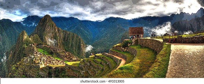 Artistic colorful Illustration image of Machu Picchu, the lost city of the Incas on a cloudy day. Machu Picchu is one of the new 7 Wonder of the Word near Cusco, Peru