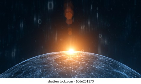 Artistic computer binary numbers data with sunny network sphere illustration background. View from space.