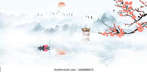 Artistic conception landscape painting background illustration