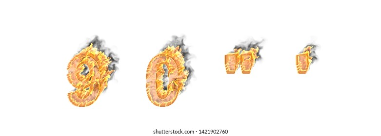 Artistic design font, burning fire and smoke numbers 9 and 0, apostrophe and quotations marks isolated on white - 3D illustration of symbols