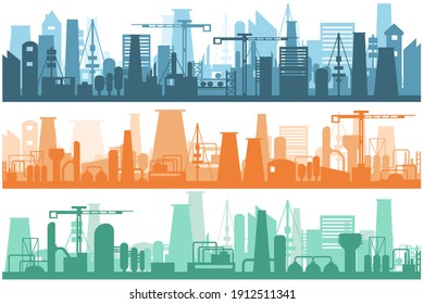 Artistic design silhouette industrial factory. Manufacturing industrial plant, factory silhouette, building of enterprise scene, manufacture industry exterior.