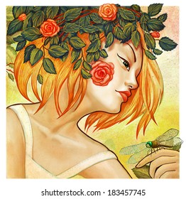 Artistic digital modern style illustration portrait of a young blonde woman symbolizing summer time