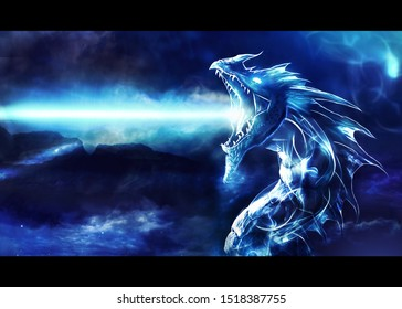 Artistic digital paint of a blue angry dragon firing energy as a unique powerful artwork