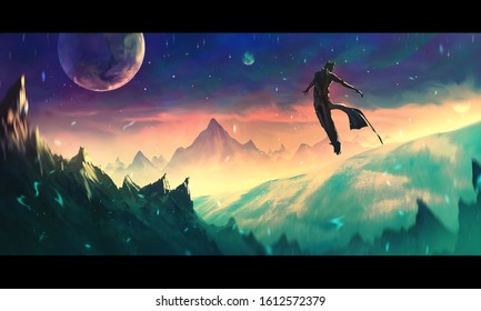Artistic digital paint illustration of a warrior flying in a sky with full moon on top of hills and mountains
