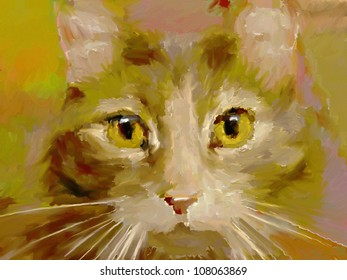artistic digital painting of a cat's face in an impressionist oil paint style