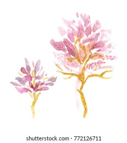 Artistic drawing of spring blooming trees isolated on white background
