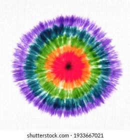 Künstlerische Fabric Tie Dye gestreifte Muster Tinte Hintergrund Böhmische Spirale. Hippie Dye Drawn Tiedye Swirl Shibori binden Farbstoff abstrakte Batik nahtloses Muster Trendy Fashion Fantasy Dirty Tie Farbe Wasser Farbe