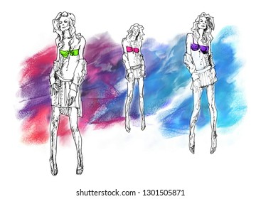 Artistic fashion sketch of beautiful bikini models. Freehand watercolor and ink