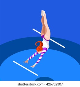 Artistic Gymnastics Uneven Bars Athletes Summer Games Icon Set.3D Isometric Athlete.Sporting Championship International Competition.Sport Infographic Gymnastics Uneven Bars events Illustration