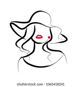 Artistic hand drawn stylish young lady portrait isolated on white background. Fashion girl model icon. Woman in hat. Beauty illustration, logo design. Fashion poster, placard, banner.